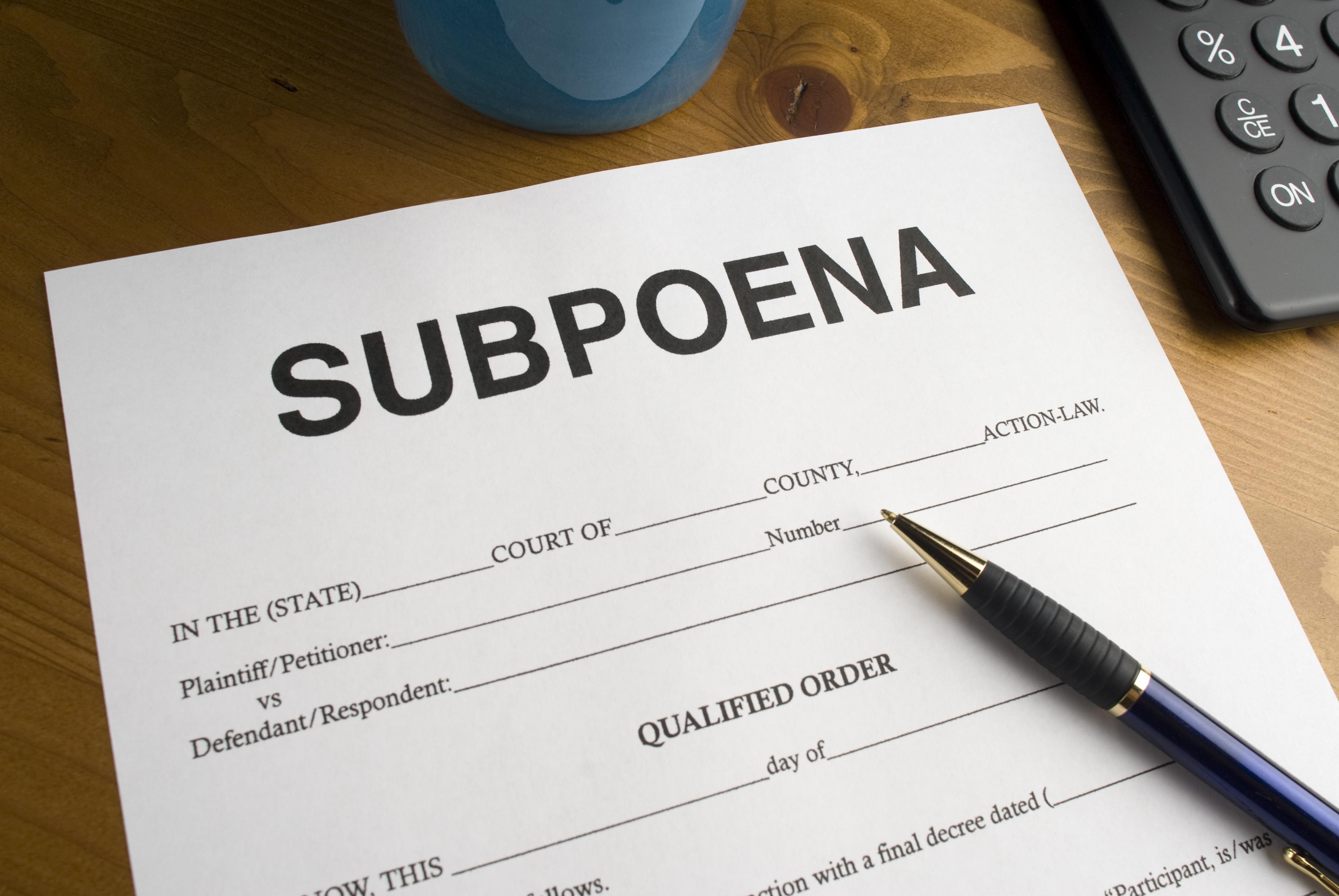 Process Service Subpoena Request